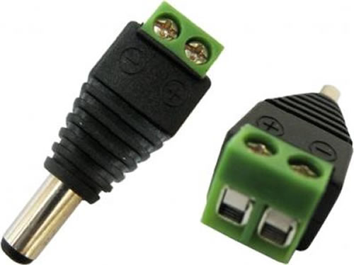 A-2135M2: DC power connector male, 2.1mm x 5.5mm screw down