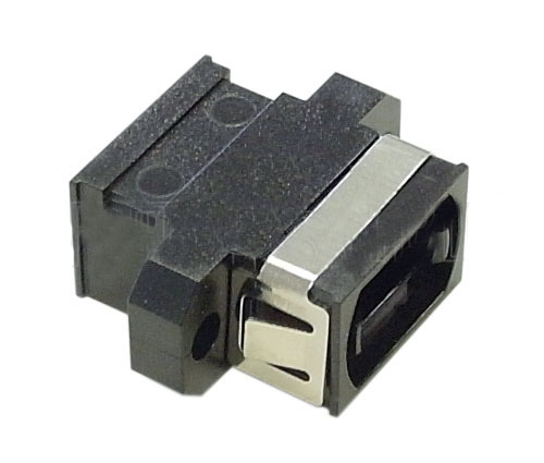 A-MPOS: MPO fiber coupler for straight wiring (key up to key down) panel mount, black