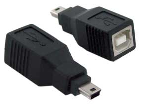 A-USB-BMFM: USB B female to mini 5-pin USB male adapter