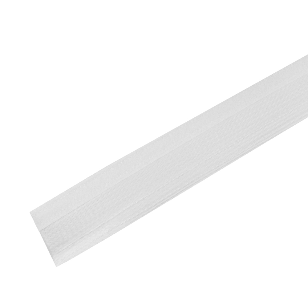 BS-FW075-100WH: 100ft 3/4 inch Split Hook and Loop Braided Sleeving White