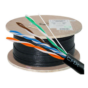 HFCAB--CAT5DB-O: Outdoor 1000ft/305m 4 pair Cat5e solid direct burial CMX - black
