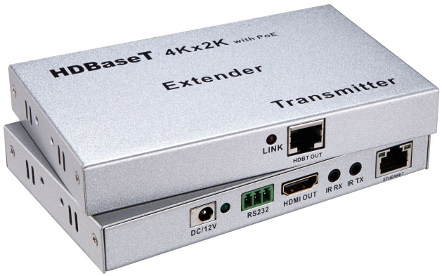 E100HDP: POE HDMI HDBASET 4Kx2K EXTENDER BY SINGLE CAT5E/6 CABLE 100m W/IR , RS232