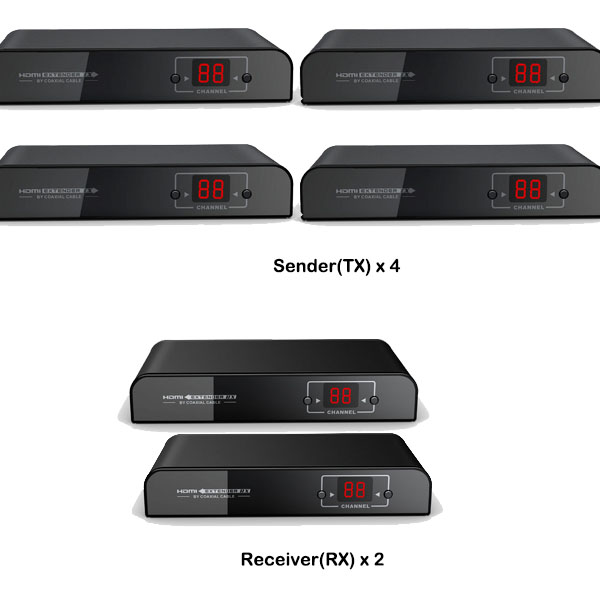 HERF70042: 4x2(4-input, 2-output) Matrix HDMI Switch Over RF Coax up to 700 meters/2296 Feet