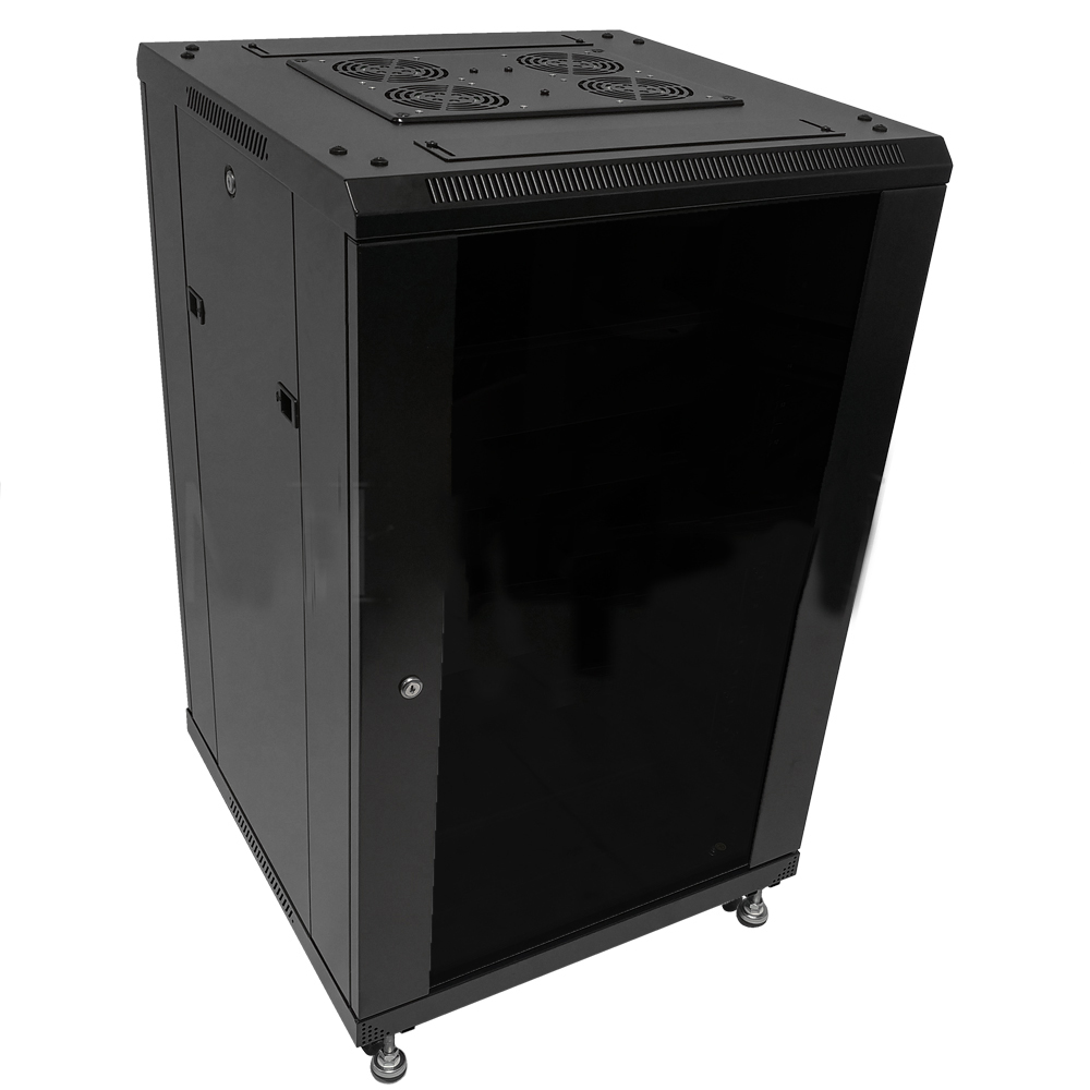 HF-ANC18: 18U A/V and Networking Cabinet - Pre-Loaded with Fan Top, 3 Shelves & Blank Panels - Black