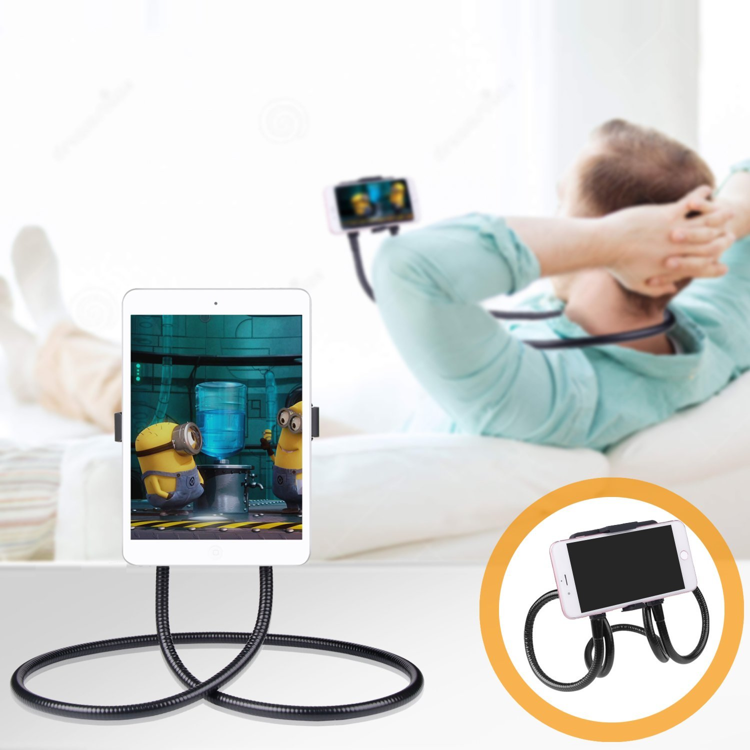 HF-LY-HA: Cell Phone Holder, Tablet Holder iPad Stand Universal Phone Stand, Lazy Bracket, DIY Free Rotating Gooseneck Mounts with Multiple Function