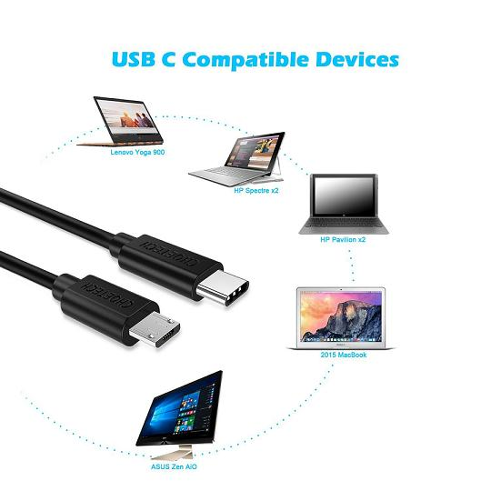 HF-UCMU-3: 3ft USB Type C Hi-speed to Micro USB Cable