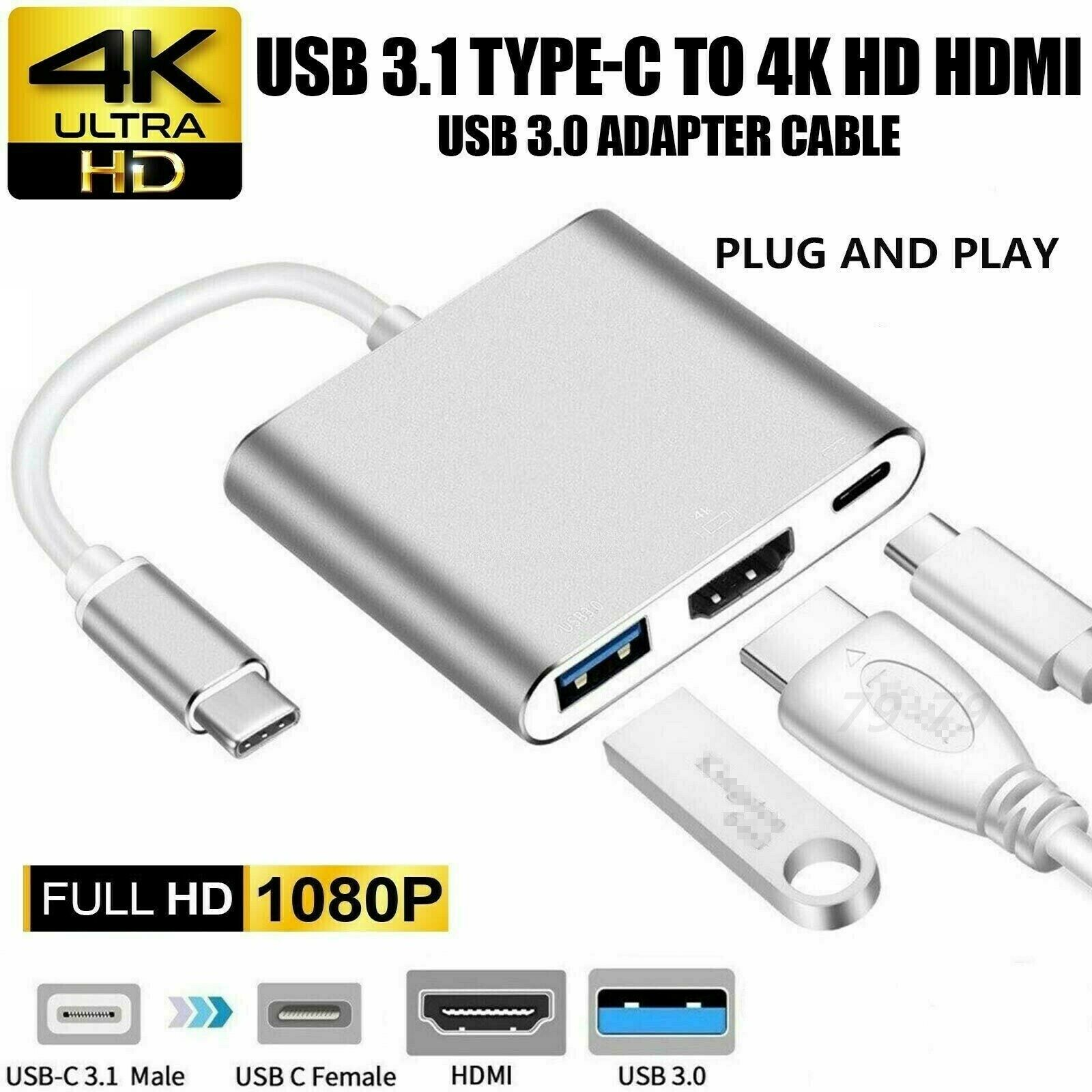 HF-UCTUCH: 3 in 1 USB 3.1 Type C To HDMI USB 3.0 HUB USB-C multi-port Adapter Dongle Dock Cable for Macbook Pro
