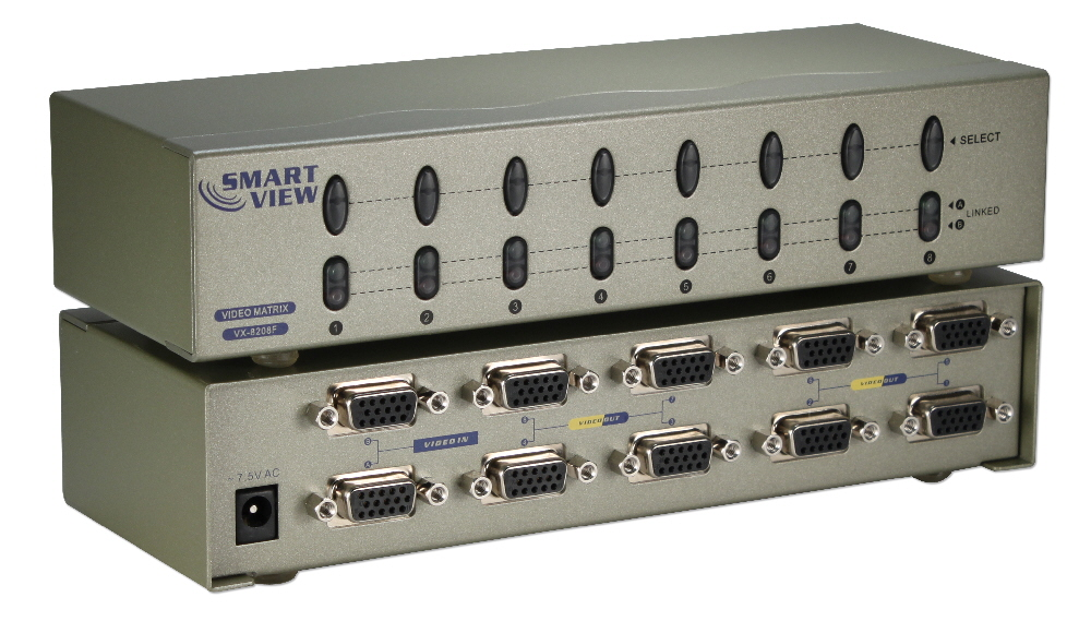 HF-VMS0208: 2x8 VGA Matrix Switch 2 Inputs and 8 Outputs
