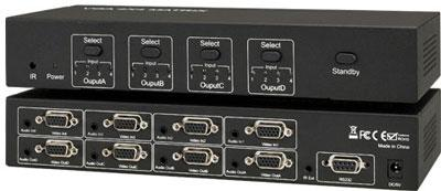 HF-VMS0404: 4x4 VGA Matrix Switch 4 Inputs and 4 Outputs with Audio, Infra Red and RS232