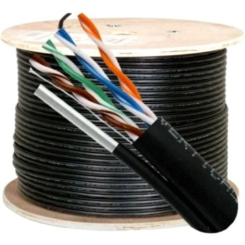 HFCAB--CAT5M-O: Outdoor 1000ft/305m 4 Pair Cat5E 350MHz Solid Bulk Cable UV with Messenger - Black
