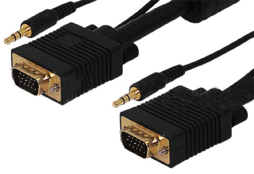 HFCAB-VGAPA: 1 to 100 foot premium SVGA + 3.5mm audio cable HD15 male to male CL2/FT4 rated