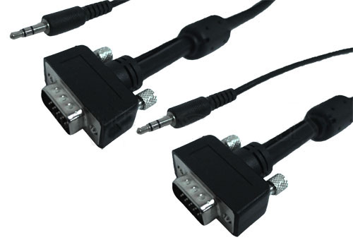 HFCAB-VGAUA: 3 to 100 foot ultra-thin LCD SVGA cable HD15 M/M + audio 3.5mm CL2/FT4