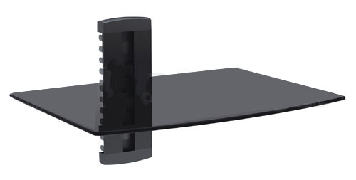 HFTM-MS1: Media player single shelf, glass - Black Black tempered glass shelf Glass size 280 x 380 mm Up to 8 kgs