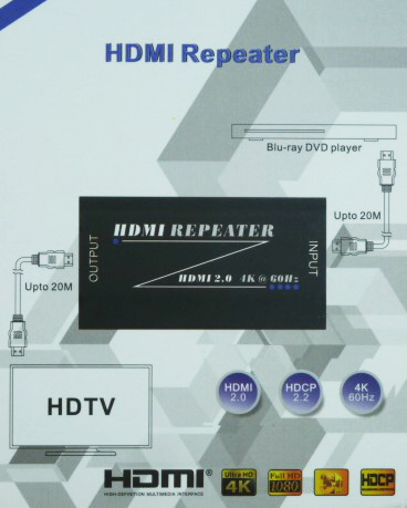 HR02: HDMI Signal Amplifier Repeater Booster Support 3D/Compressed audio for HD 1080P 35m