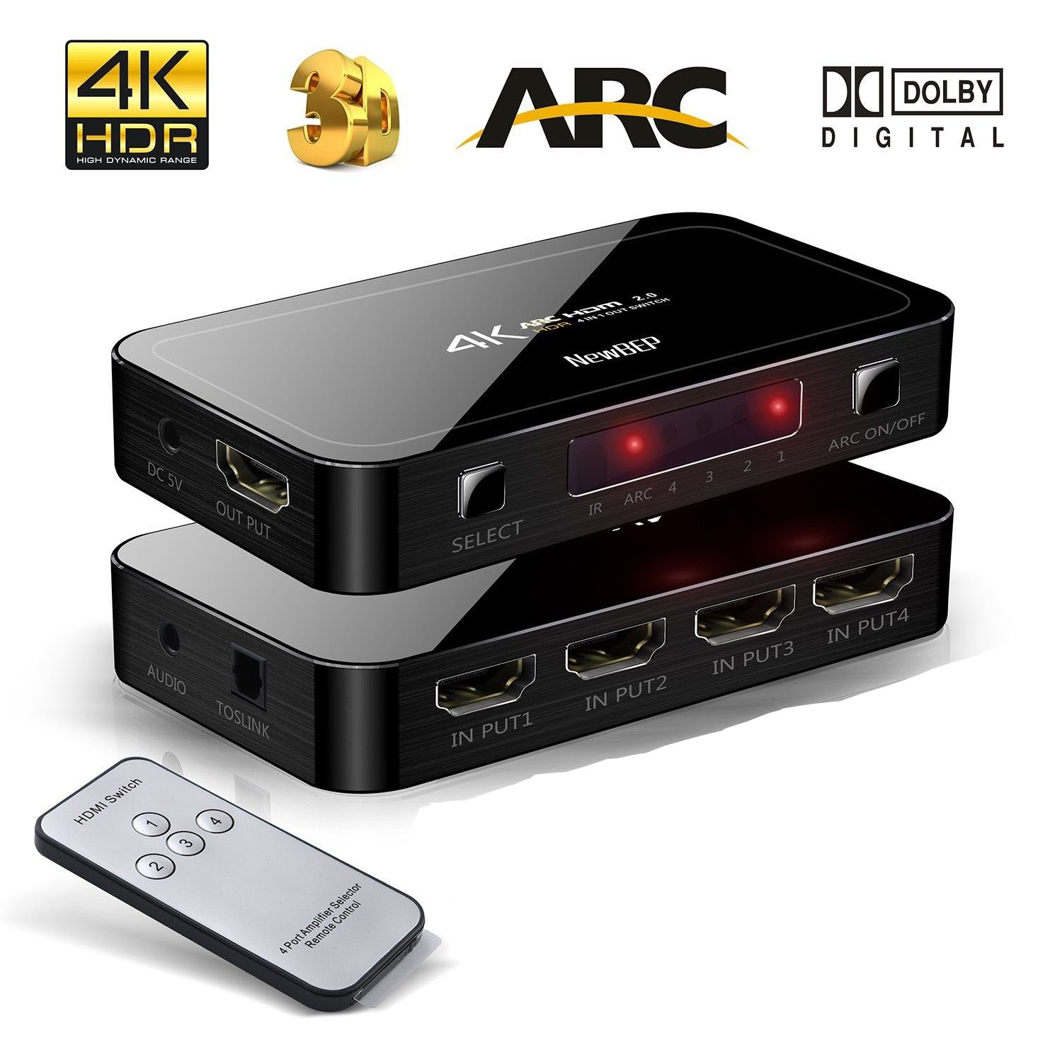 HSW4014K60: 4 port HDMI 2.0 Switch with Optical TOSLINK Audio Extractor Out 4K@60Hz w/remote
