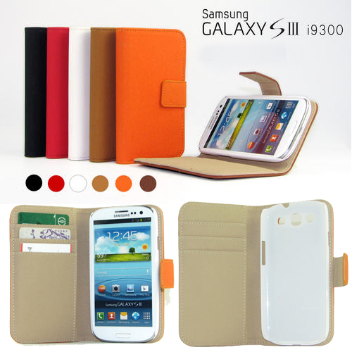 S3F: Samsung Galaxy S3 PU leather Wallet ID cover case/ Black/White/Red/Brown/Orange