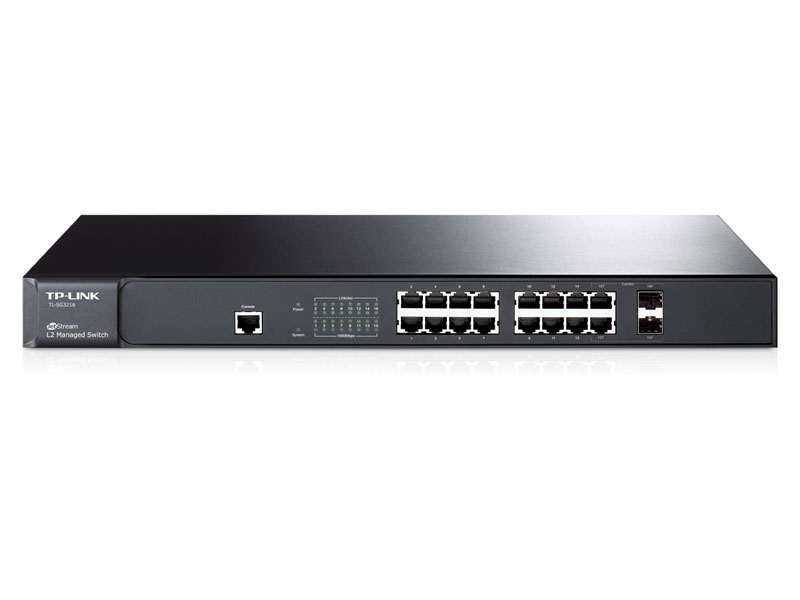 TL-SG3216: JetStream™ 16-Port Gigabit L2 Managed Switch with 2 Combo SFP Slots