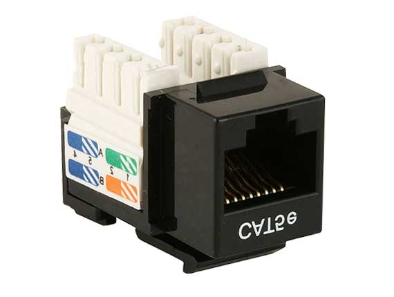 WPIN-45110S-BK: RJ45 Cat5e slim profile jack keystone, 110 punch-down - BLACK