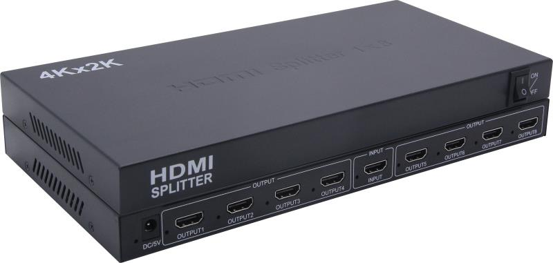 8 ports HDMI 1.4 Splitter with Full 3D and 4Kx2K(340MHz)