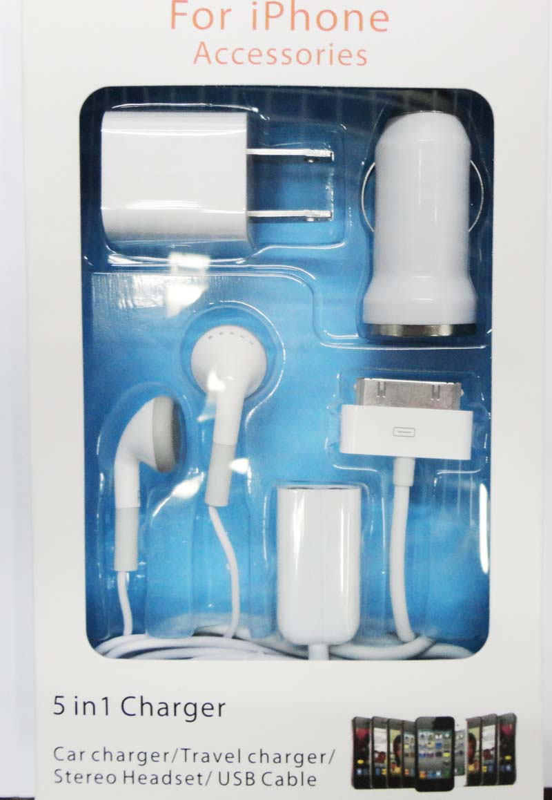 iPod-kit-c5: iPod charging 5-in-1 kit w/wall&Cigarette charger, USB-30pin Cable,earbud,3.5mm audio splittetr